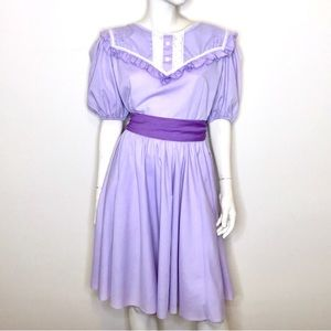 Jeri Bee lavender purple lace ruffle prairie dress